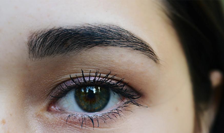 brown eyebrow threading example